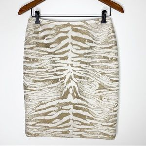 LAFAYETTE 148 New York Neutral Animal Print Skirt